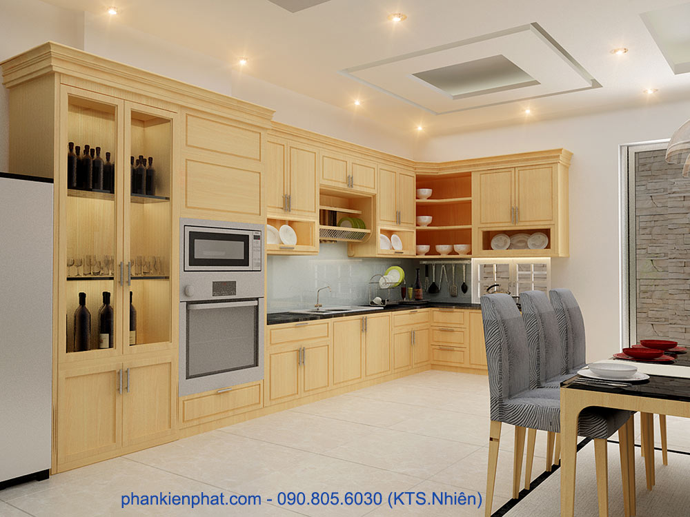 Thiết kế nhà bếp nhà phố lệch tầng
