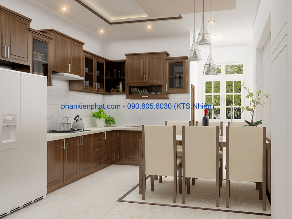 Thiết kế phòng ăn và bếp góc view 1