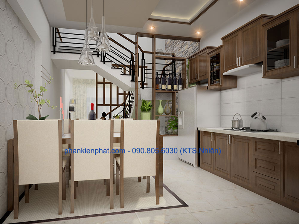 Thiết kế phòng ăn và bếp góc view 2