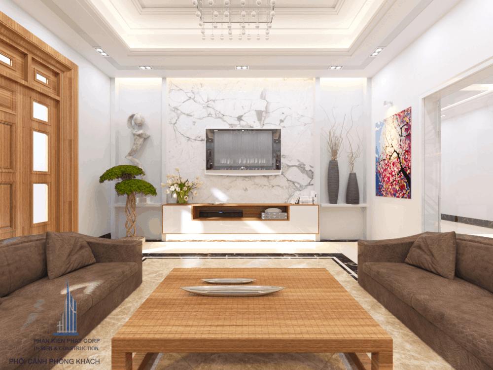 Thiết kế phòng khách biệt thự phố đẹp view 4