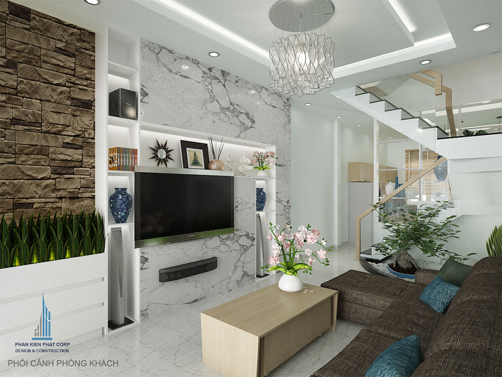 Thiết kế phòng khách nhà phố 4 tầng góc view 2