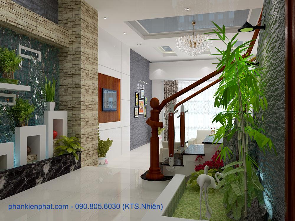 Thiết kế phòng khách nhà phố lệch tầng góc view 1