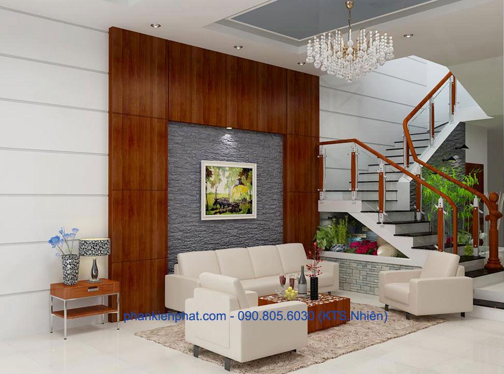 Thiết kế phòng khách nhà phố lệch tầng góc view 2