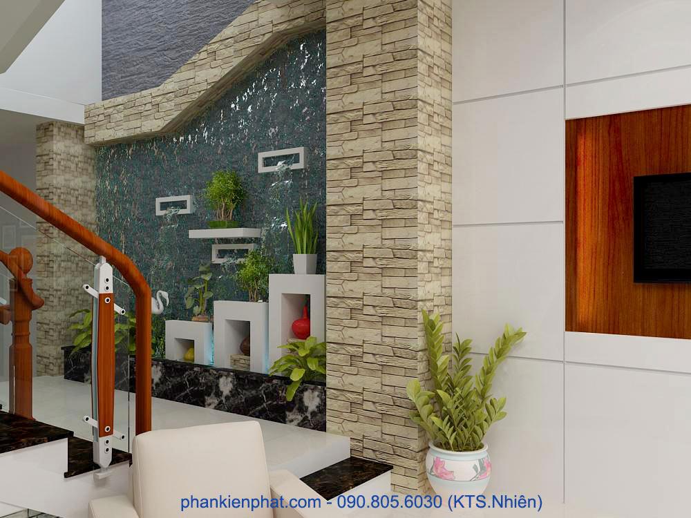 Thiết kế phòng khách nhà phố lệch tầng góc view 4