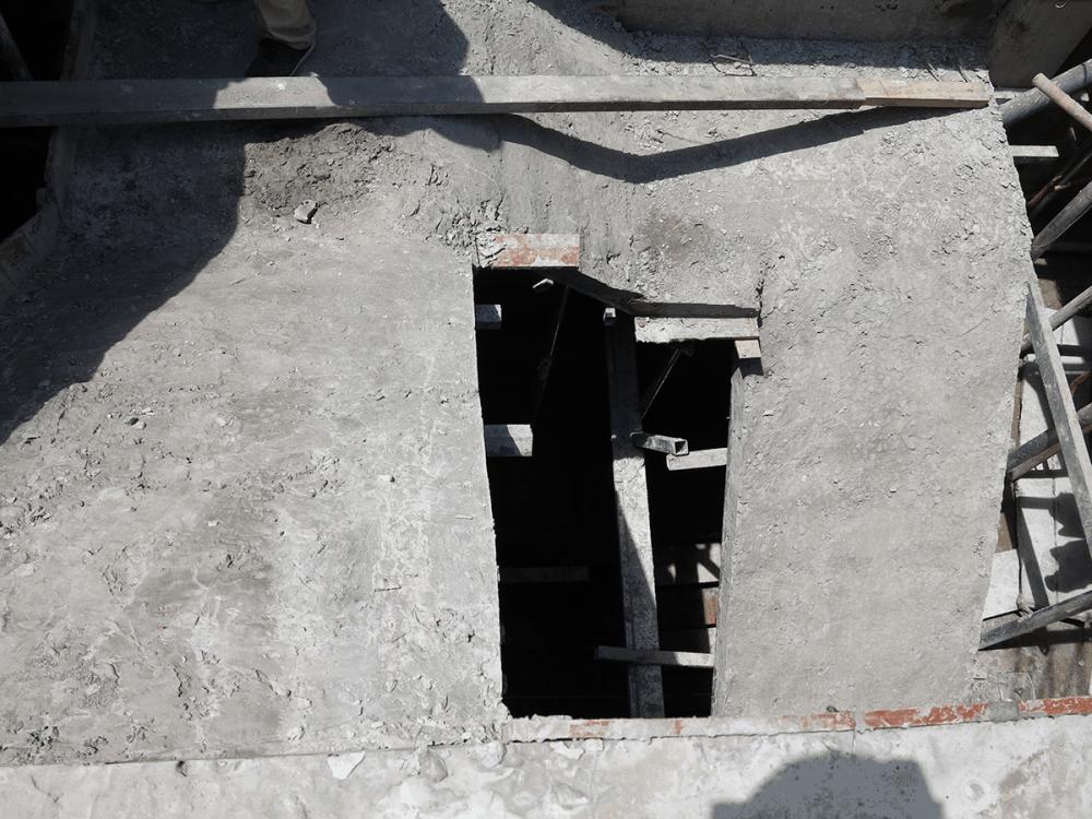 Cầu thang sau khi đổ bê tông