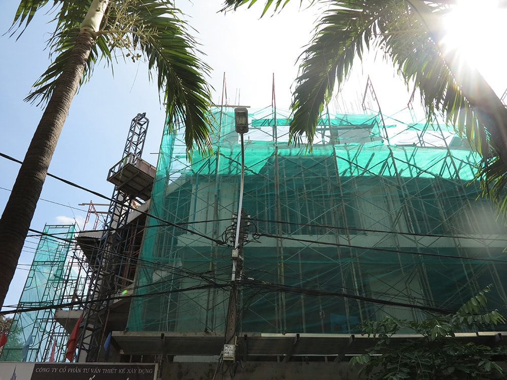 Công đoạn đóng cốt pha sàn tầng 5 góc 2