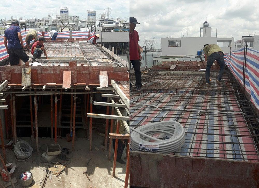 Công đoạn kiểm tra sắt sàn tầng mái trước khi đổ bê tông