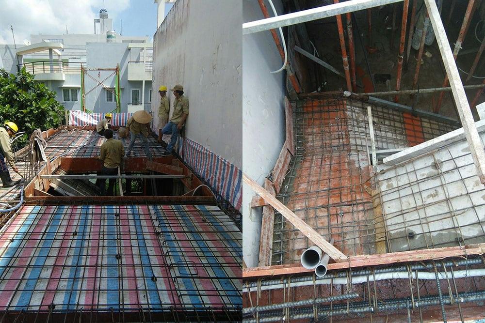Công tác kiểm tra sắt, điện, nước trước khi đổ sàn lầu 2