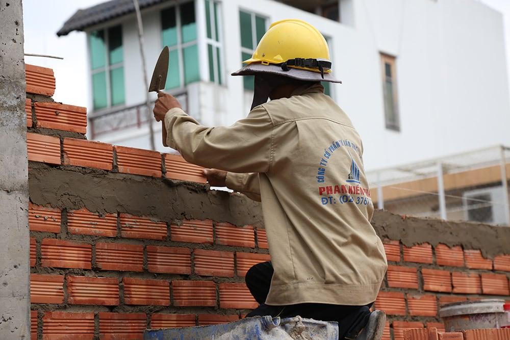 Công tác xây tường bao lầu 1 view 4