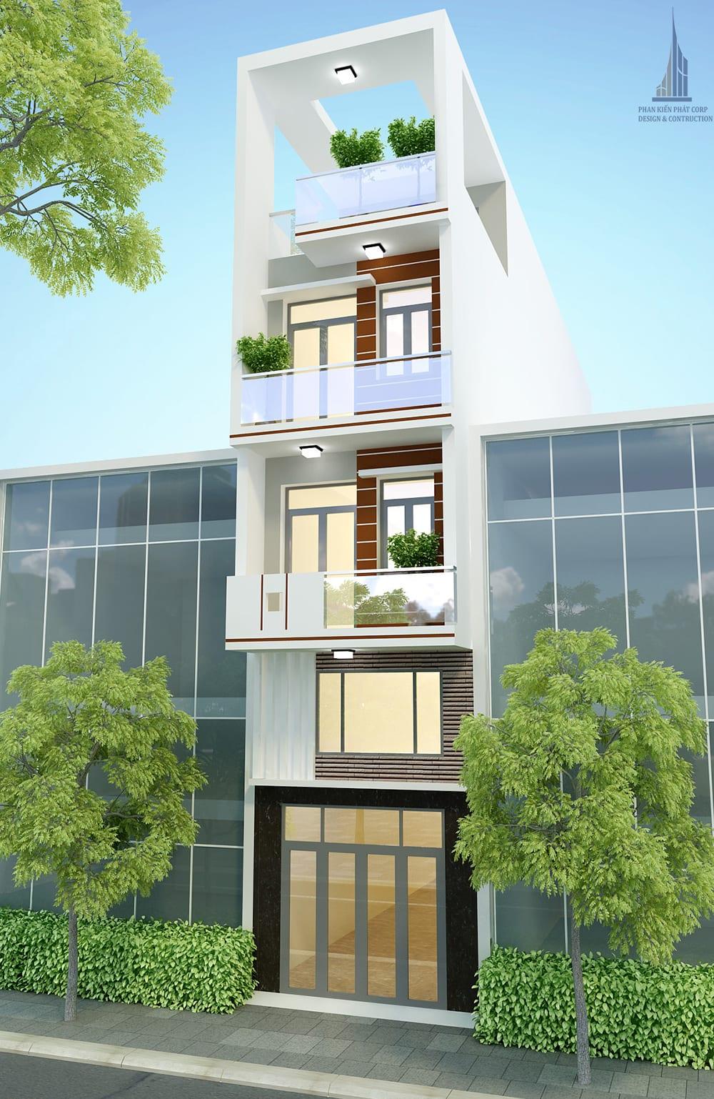 Công trình nhà phố 5 tầng diện tích 3,8mx15m tại Tân Bình