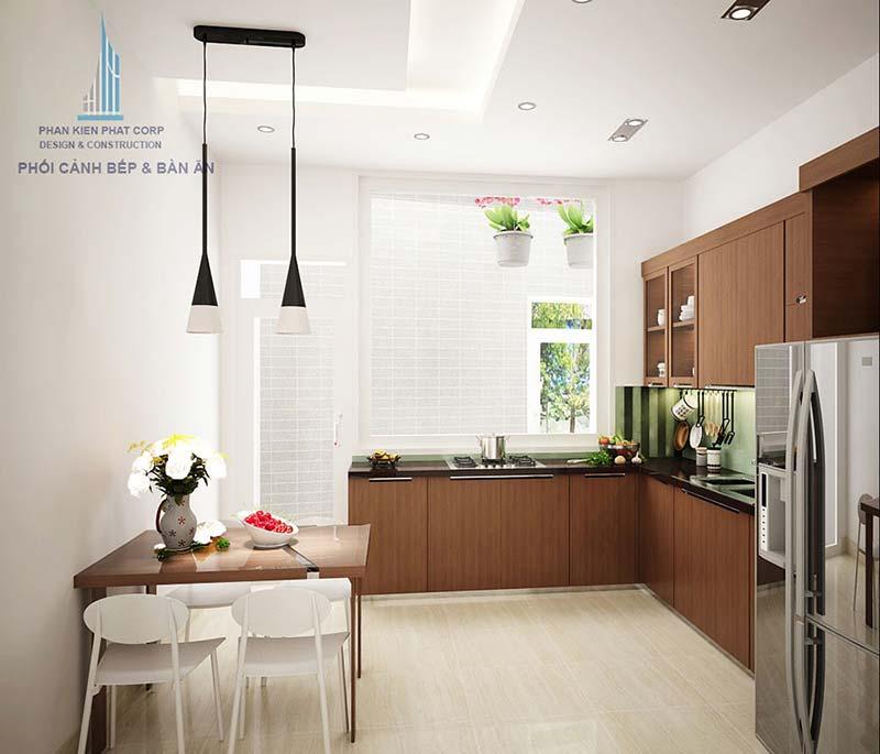 Không gian phòng bếp xanh, sang trọng