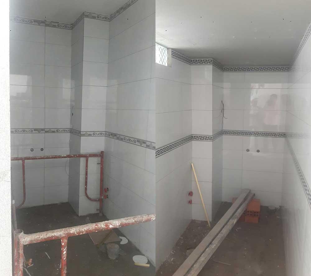 Lót gạch toilet nhà phố 4 tầng