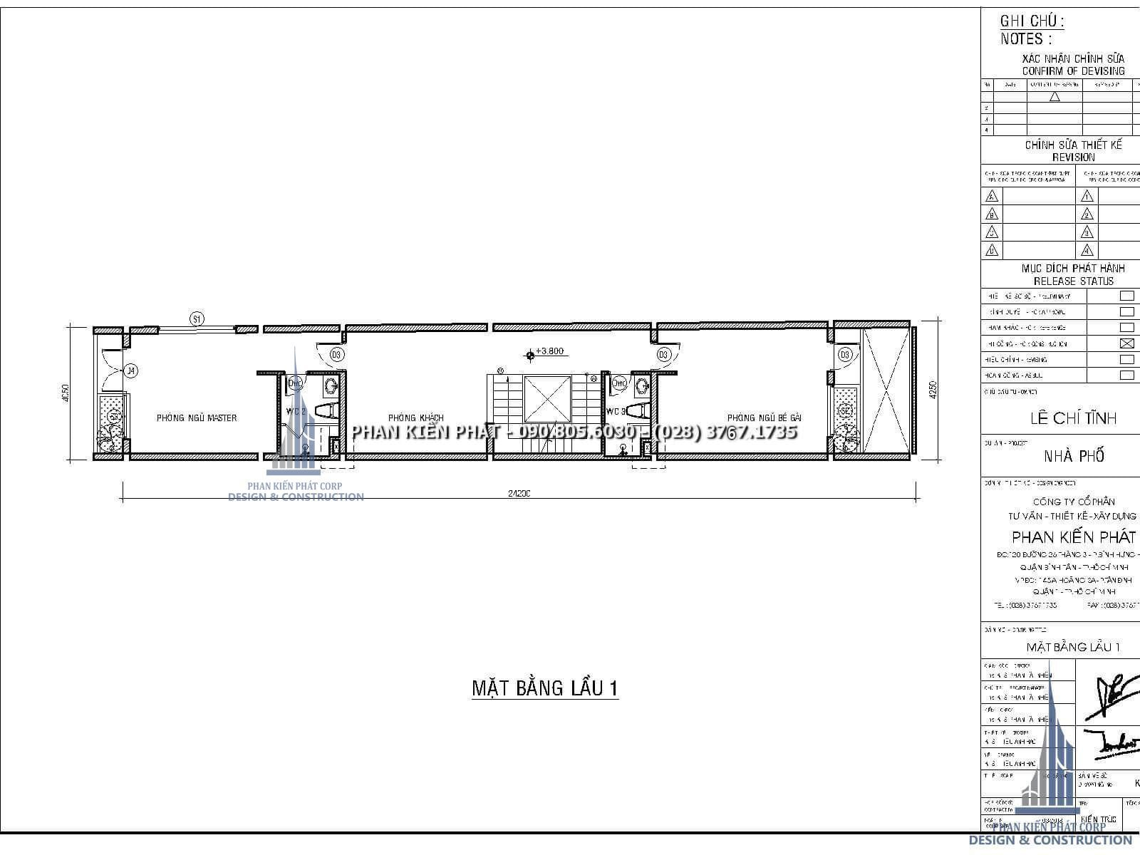 Mặt bằng lầu 1 – Thiết kế nhà phố 4 lầu kết hợp với phòng khám