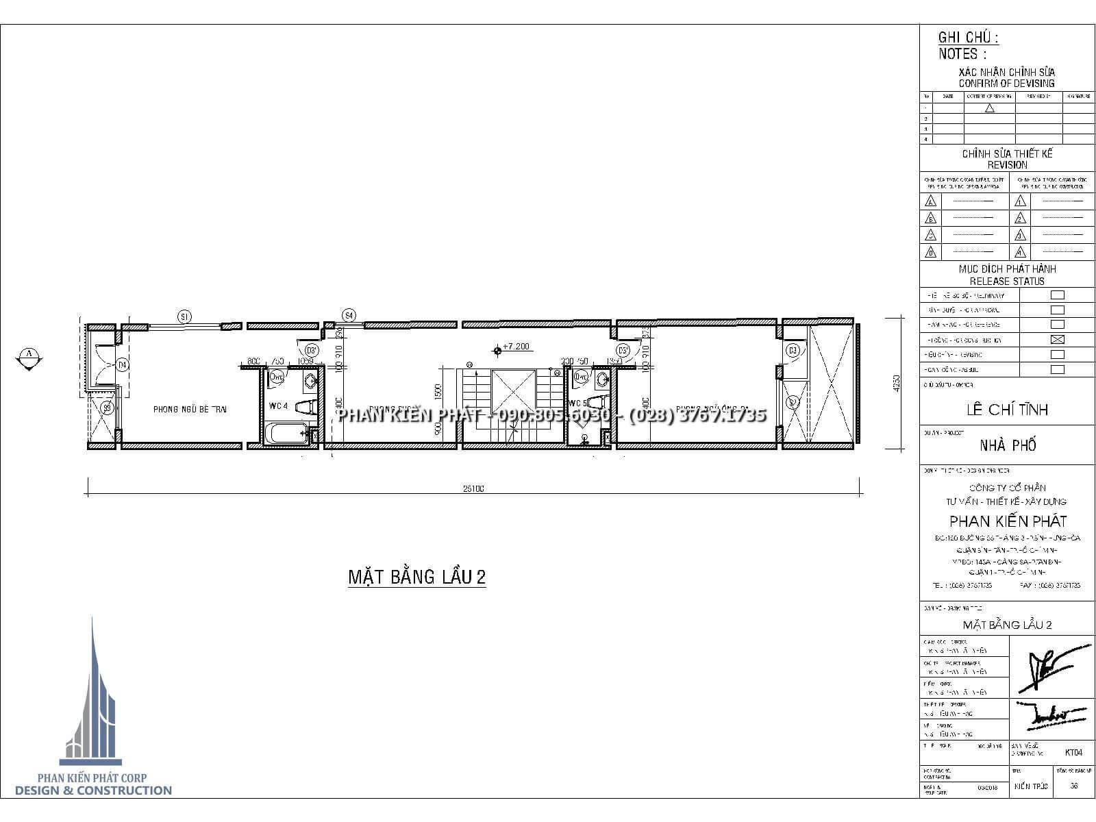 Mặt bằng lầu 2 – Thiết kế nhà phố 4 lầu kết hợp với phòng khám