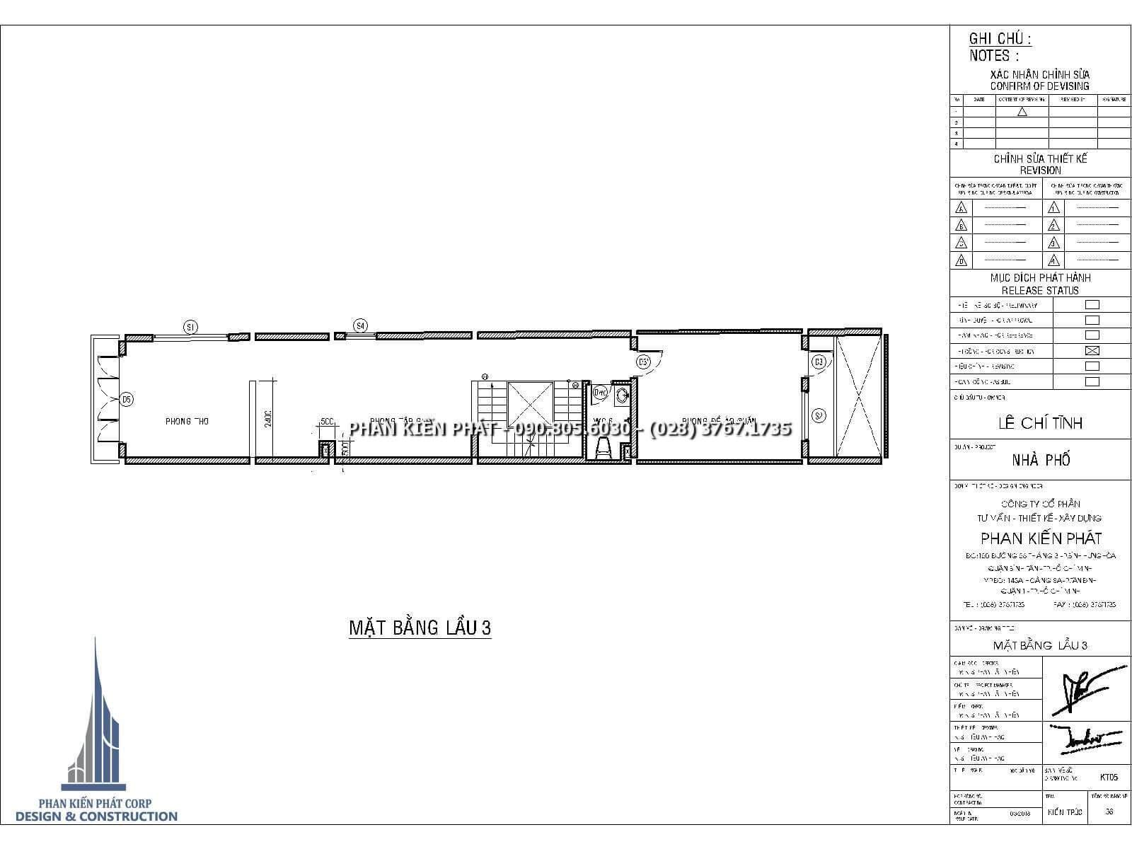Mặt bằng lầu 3 – Thiết kế nhà phố 4 lầu kết hợp với phòng khám