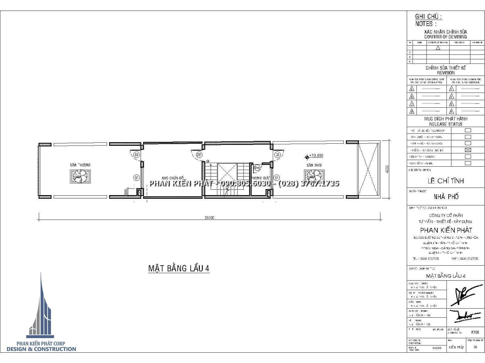 Mặt bằng lầu 4 – Thiết kế nhà phố 4 lầu kết hợp với phòng khám