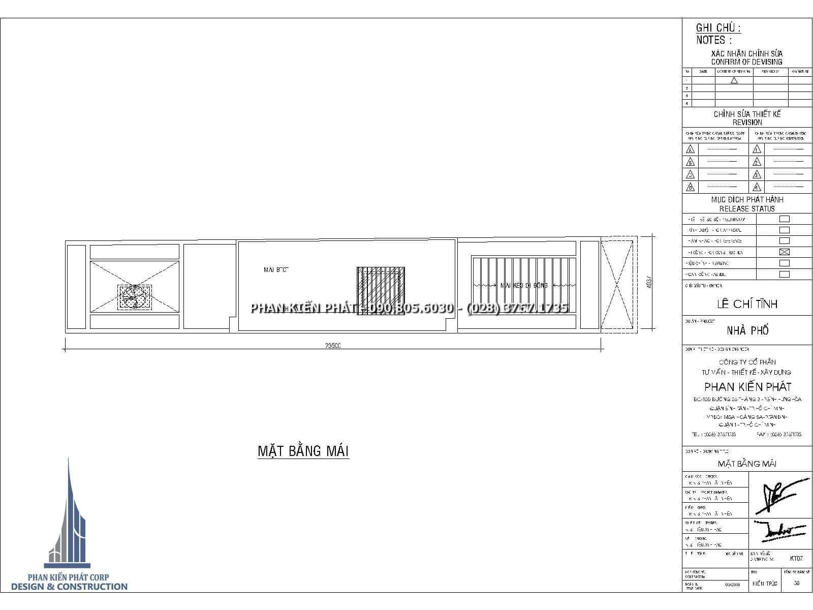 Mặt bằng mái – Thiết kế nhà phố 4 lầu kết hợp với phòng khám