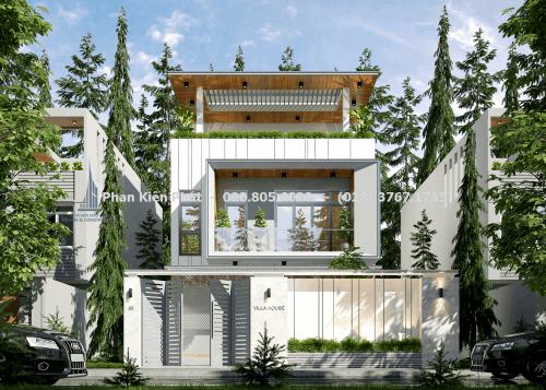Mặt tiền biệt thự vườn 3 tầng mái bằng đẹp