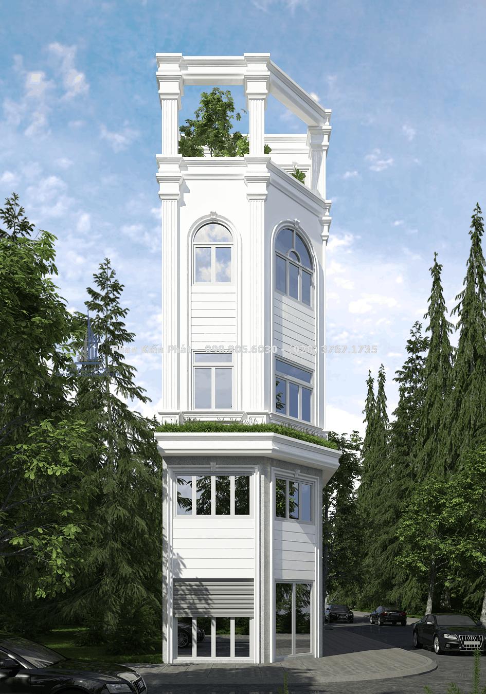 Mẫu nhà phố 1 trệt 3 lầu phong cách bán cổ điển