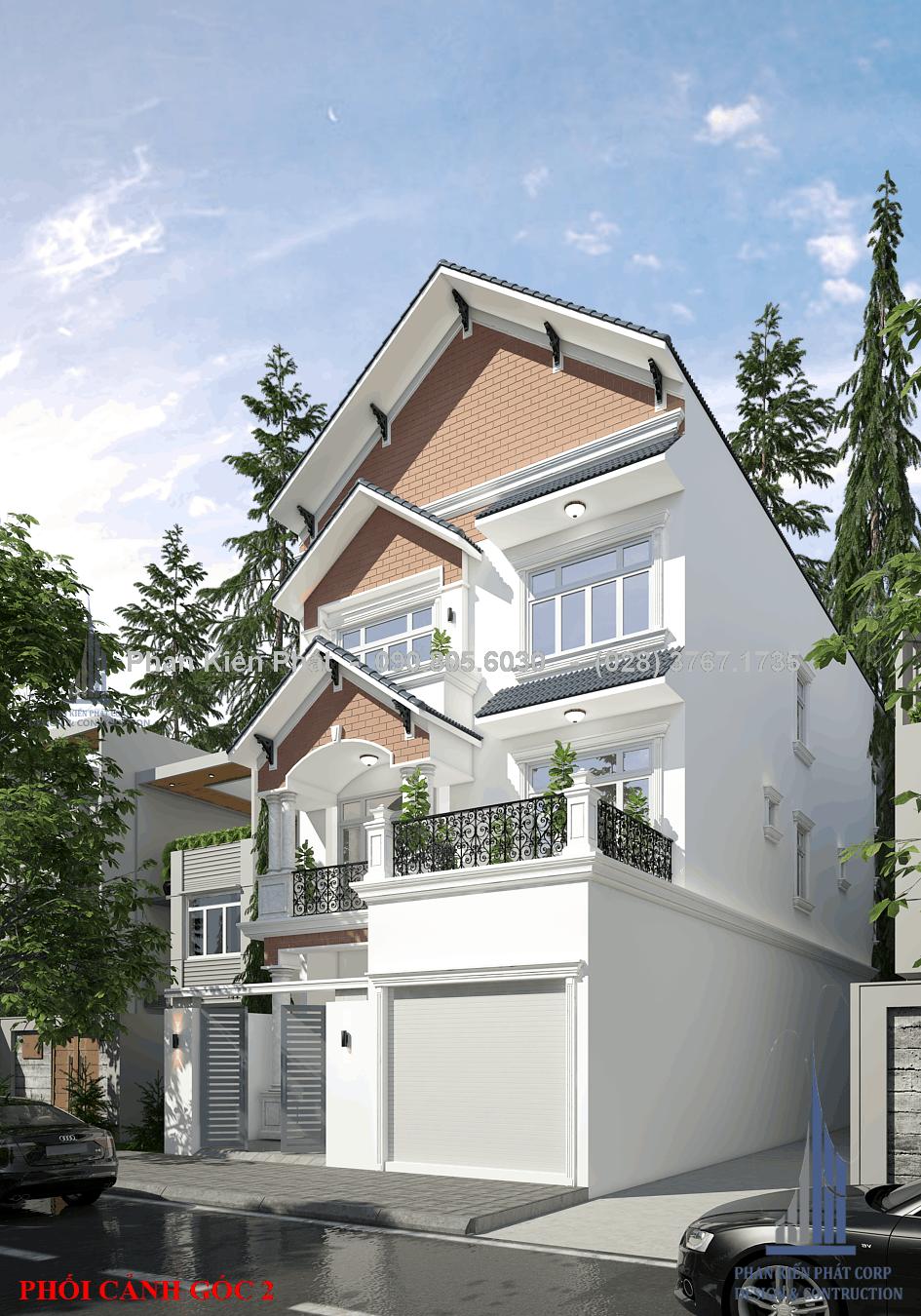 Phối cảnh mẫu nhà phố 1 trệt 2 lầu đẹp mái thái ngang 8m