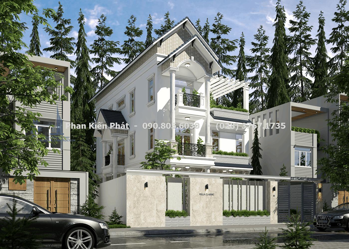 Mẫu thiết kế biệt thự 3 tầng mái thái cổ điển đẹp