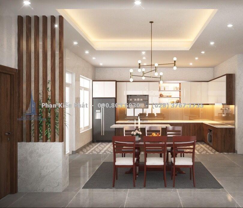 Thiết kế nội thất phòng bếp biệt thự vườn mái thái