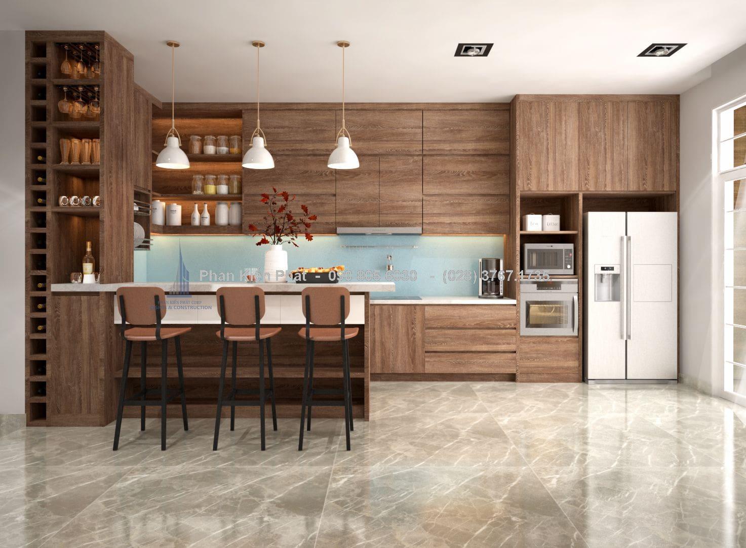 Tủ bếp kết hợp với quầy bar đẹp tiện nghi