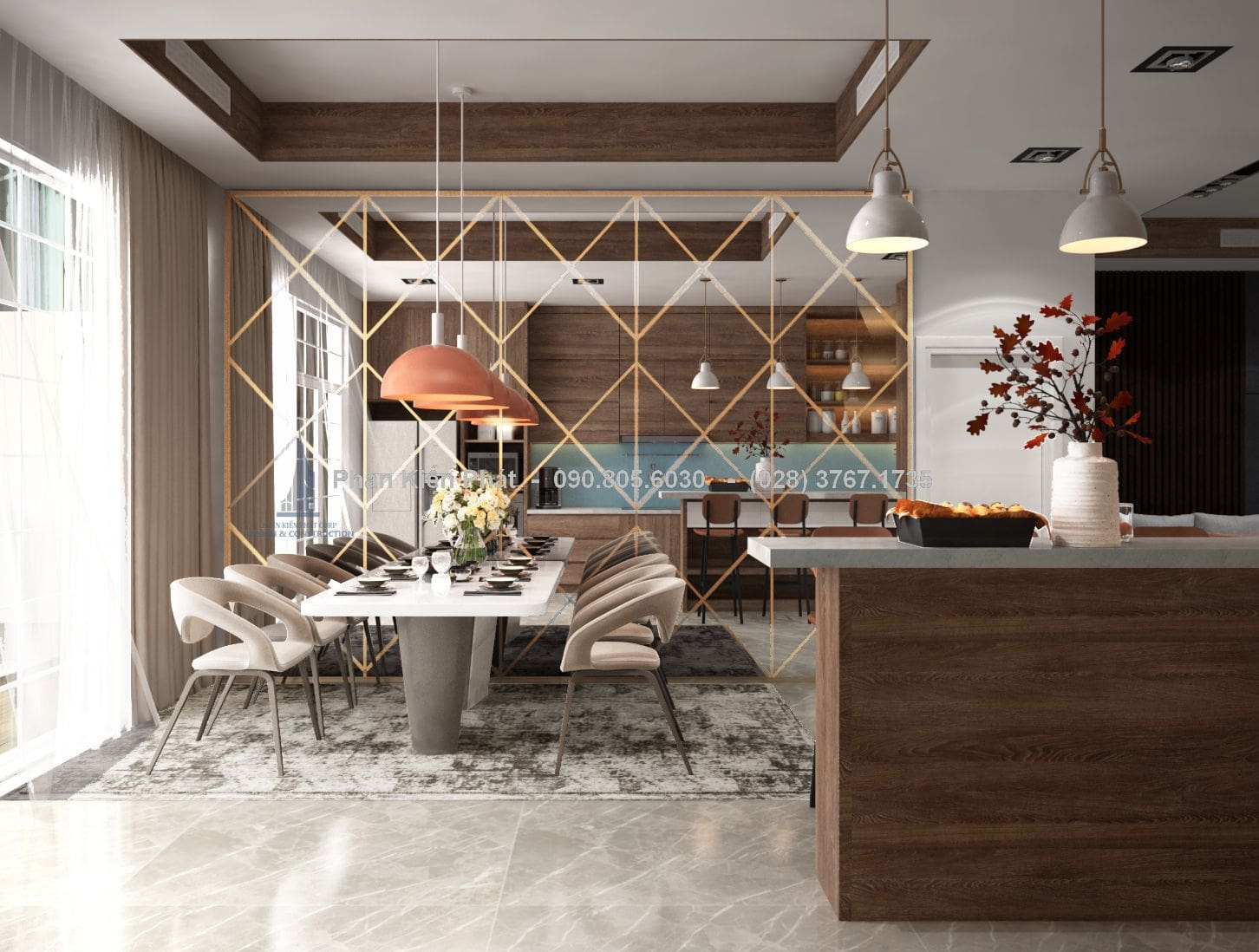Không gian bếp rộng rãi và thoáng mát