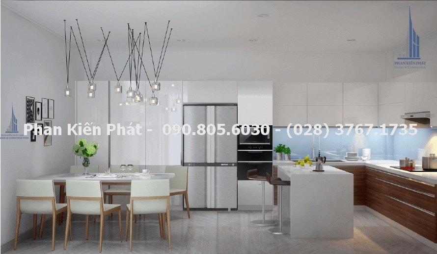 Nhà bếp tiện nghi trong thiết kế nhà phố 4 tầng