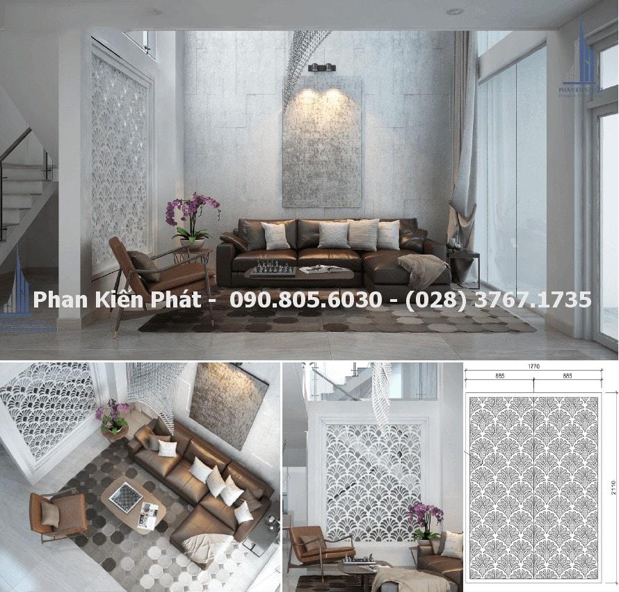 Phòng khách mẫu thiết kế nhà phố 4 tầng hiện đại