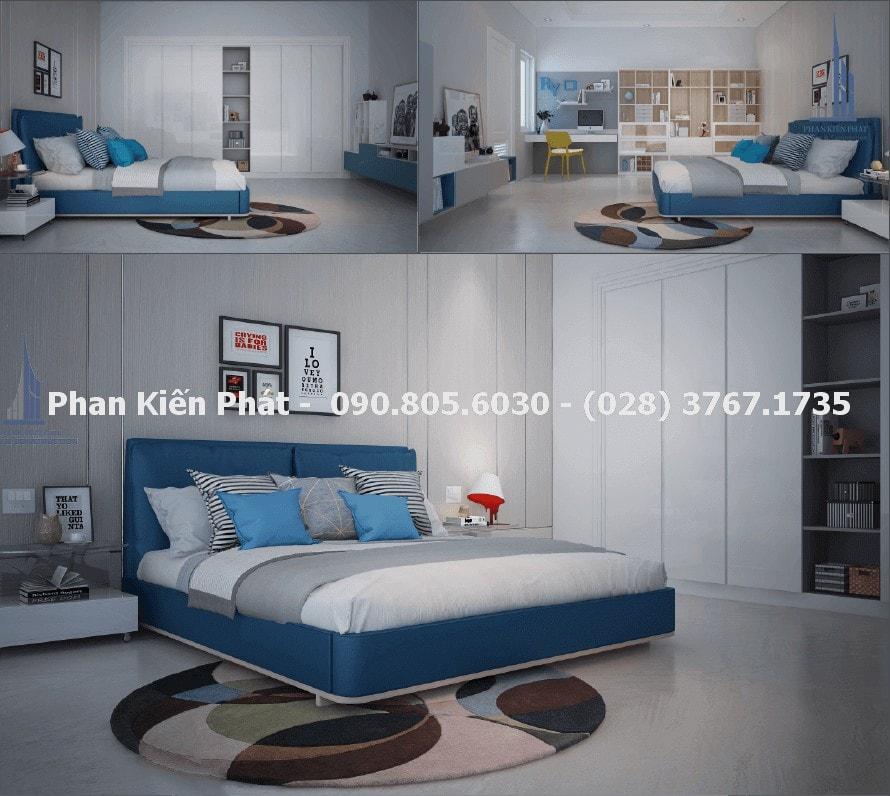 Phòng ngủ cho thành viên nam trong thiết kế nhà phố 4 tầng