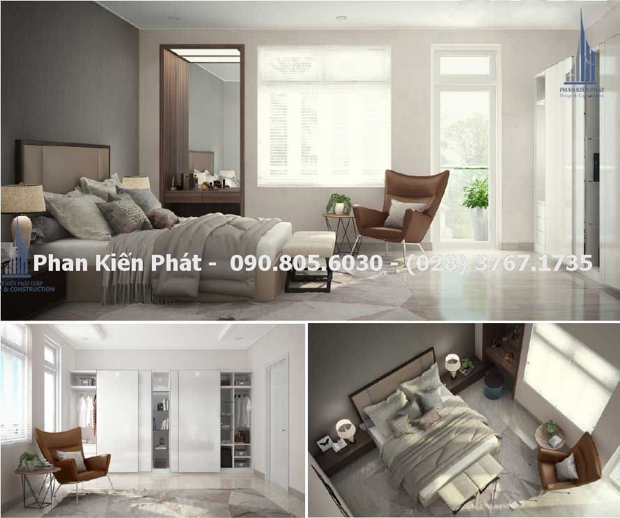 Phòng ngủ master trong thiết kế nhà phố 4 tầng