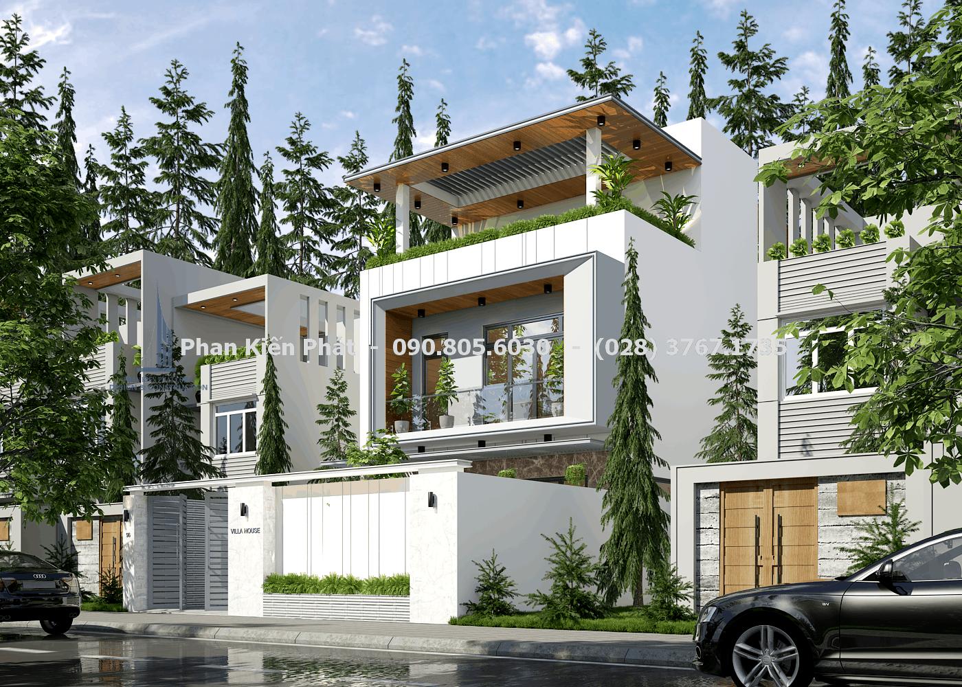 Phối cảnh mặt tiền biệt thự vườn 3 tầng mái bằng tại Bình Phước