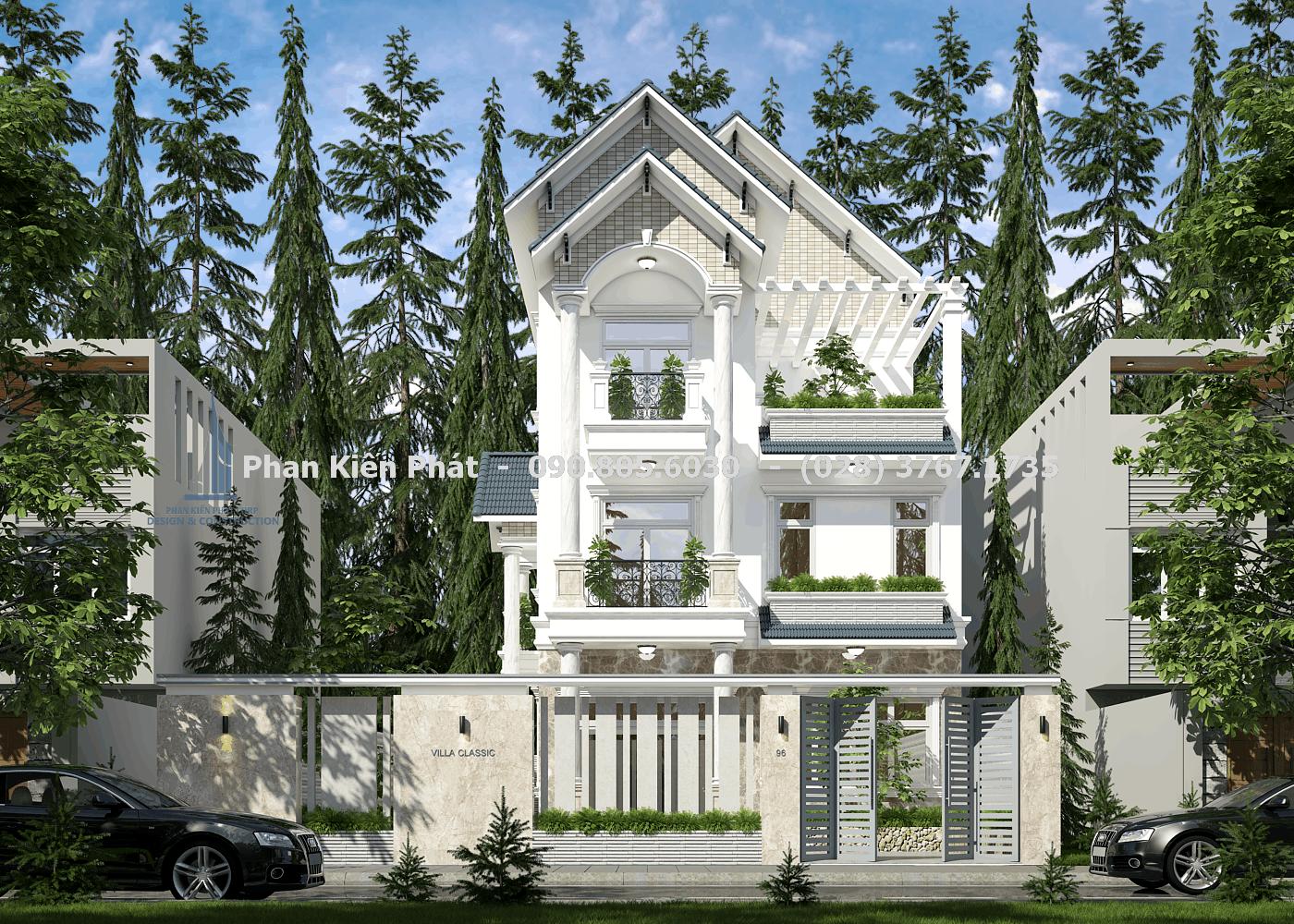 Phối cảnh mặt tiền biệt thự 3 tầng mái thái cổ điển