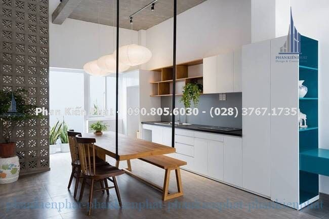 Phòng bếp – ăn trong mẫu nhà phố đẹp 1 trệt, 3 lầu