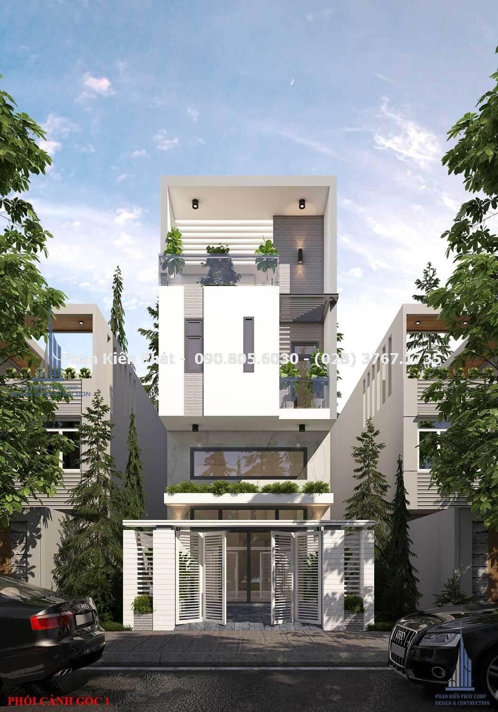 Phối cảnh mặt tiền của mẫu thiết kế nhà phố 4 tầng hiện đại