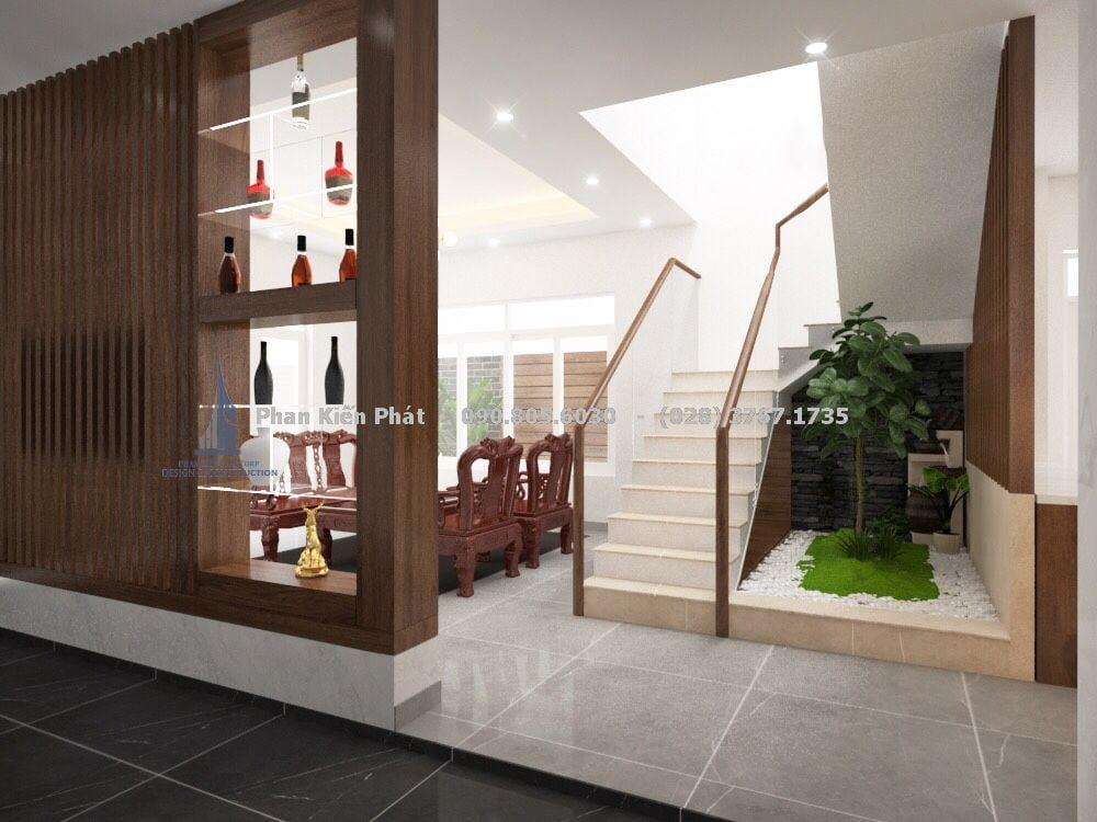 Thiết kế vách mở bằng gỗ trang trí nội thất phòng khách