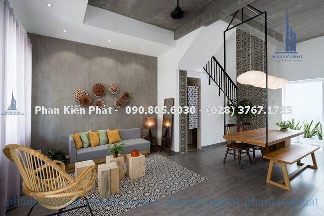 Phòng khách trong mẫu nhà phố 1 trệt 3 lầu