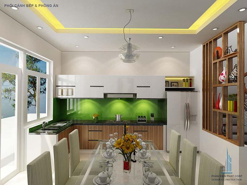 không gian phòng ăn và bếp mở