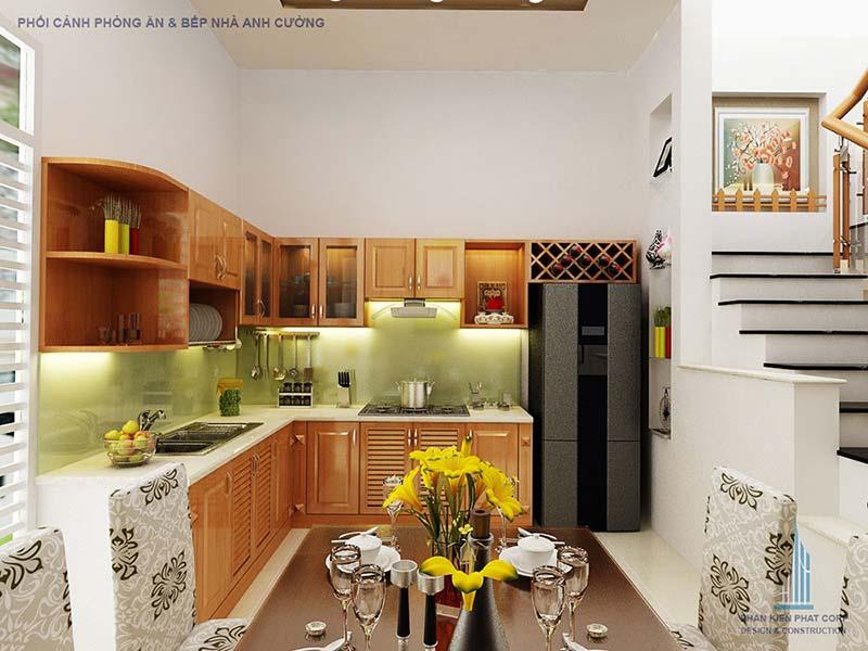 Phòng ăn và bếp thiết kế hiện đại trẻ trung