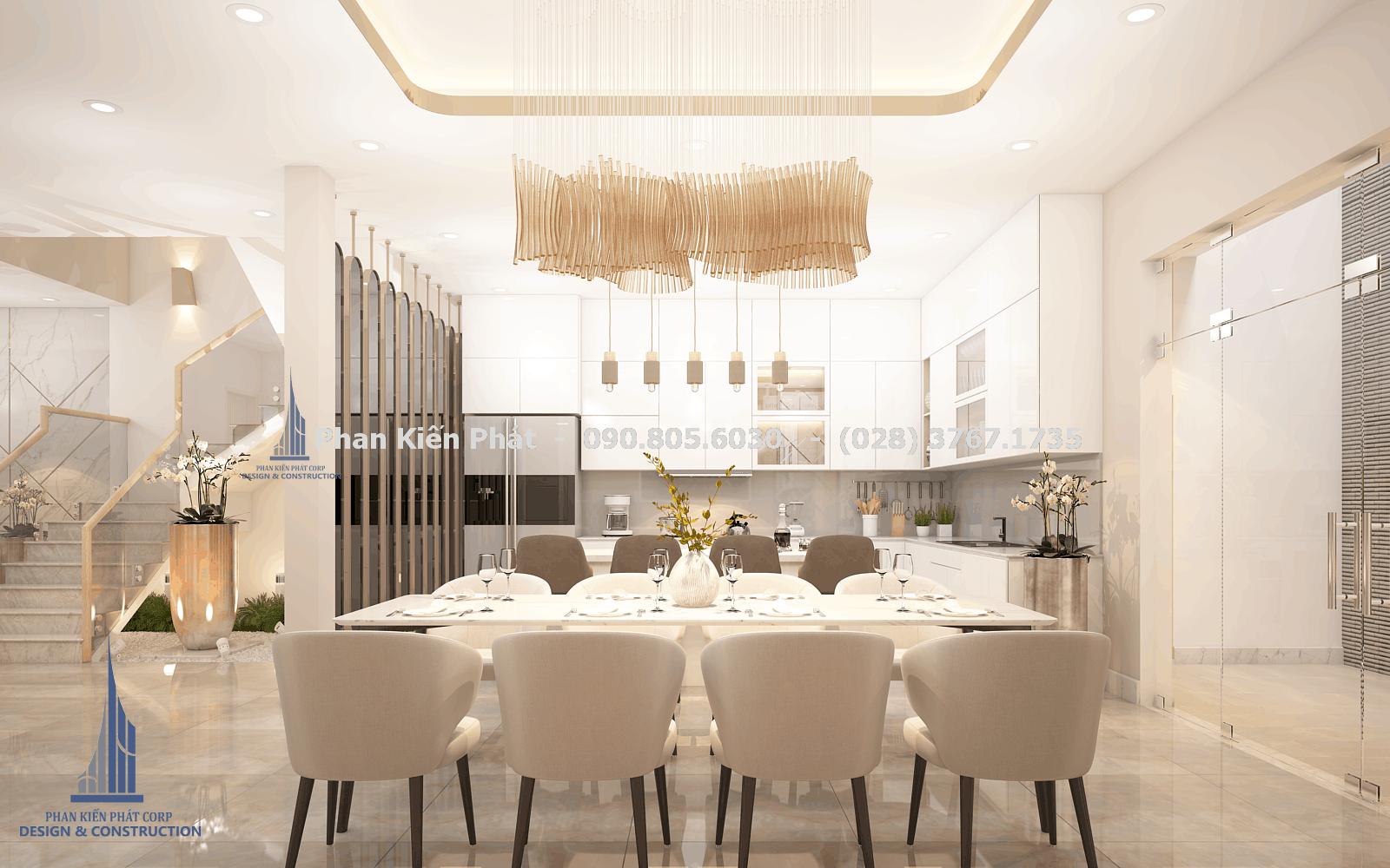 Phòng bếp – ăn tiện nghi trong mẫu biệt thự phố 5 tầng