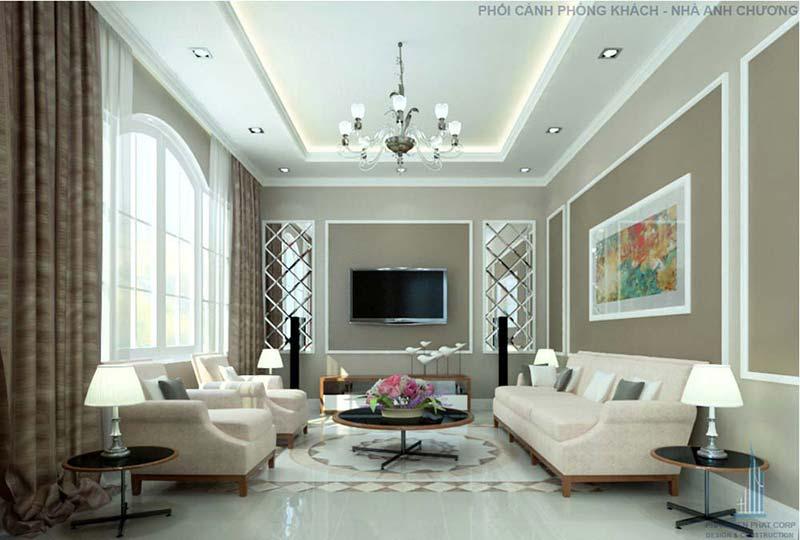 Phòng khách mang phong cách cổ điển sang trọng