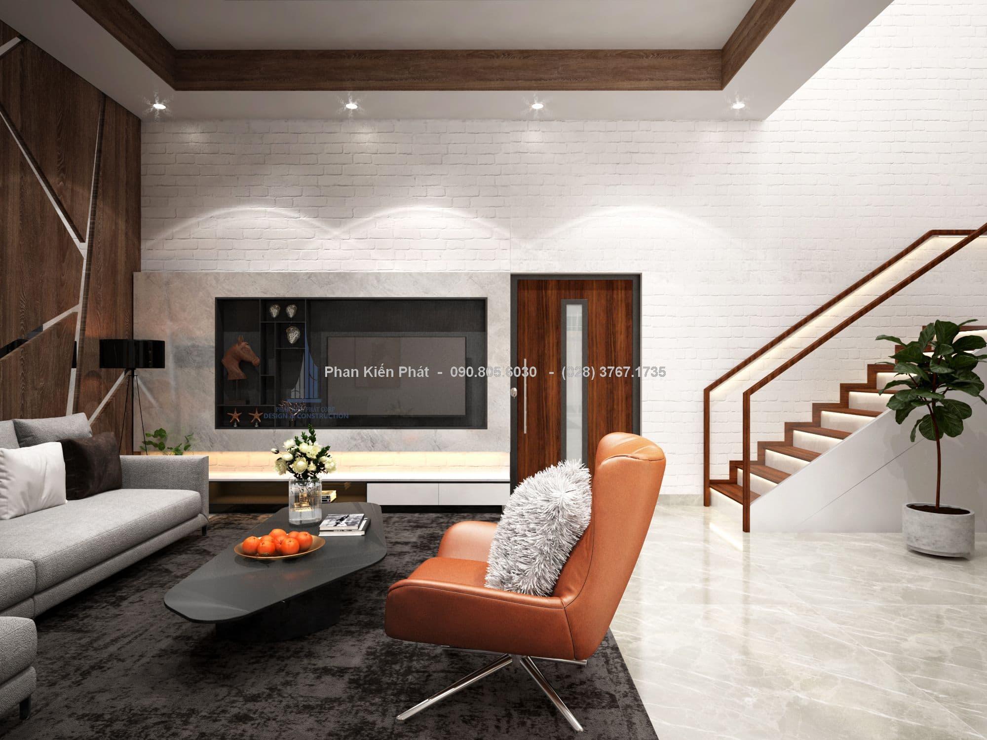 Phòng khách nhà phố 1 trệt 2 lầu - góc nhìn 4