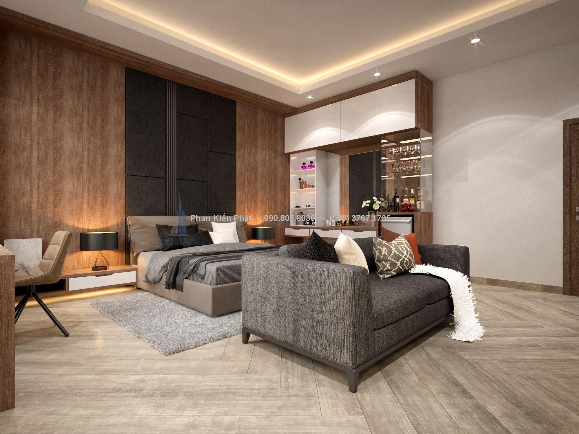 Tông màu trắng làm chủ đạo kết hợp màu gỗ tăng vẻ đẹp tổng thể cho ngôi nhà