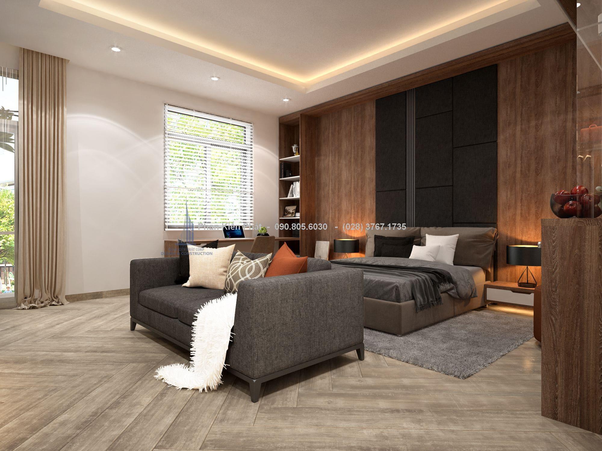 Cửa kính lớn mang đến ánh sáng tự nhiên và gió tự nhiên cho căn phòng