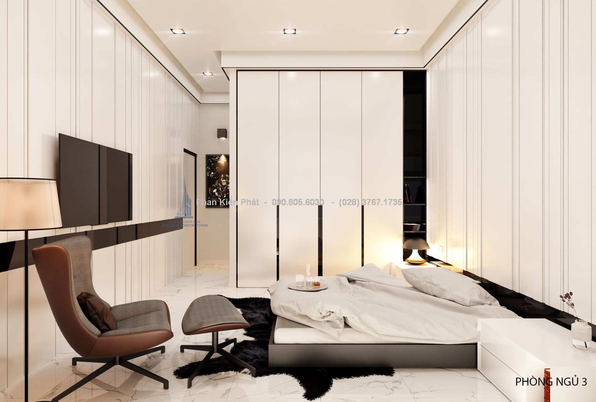 Phòng ngủ 3 cho mẫu nhà 1 trệt 2 lầu