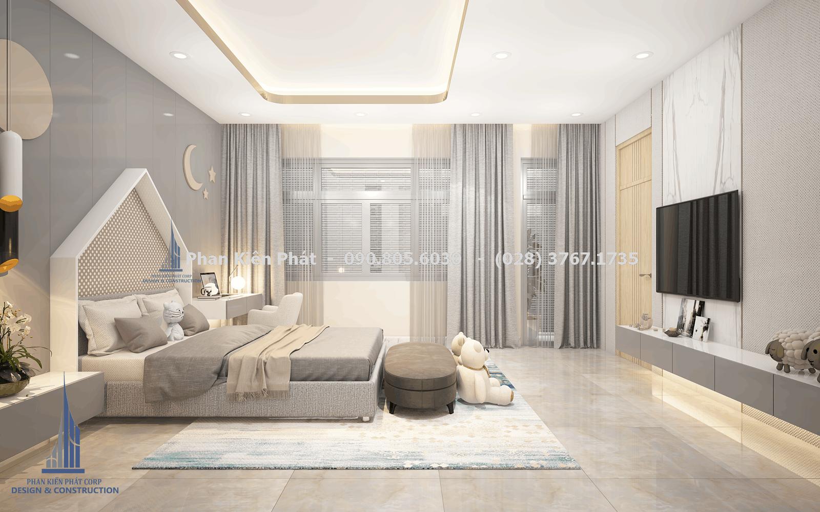 Phòng ngủ dành cho con gái với tông màu xám trắng trong thiết kế biệt thự phố