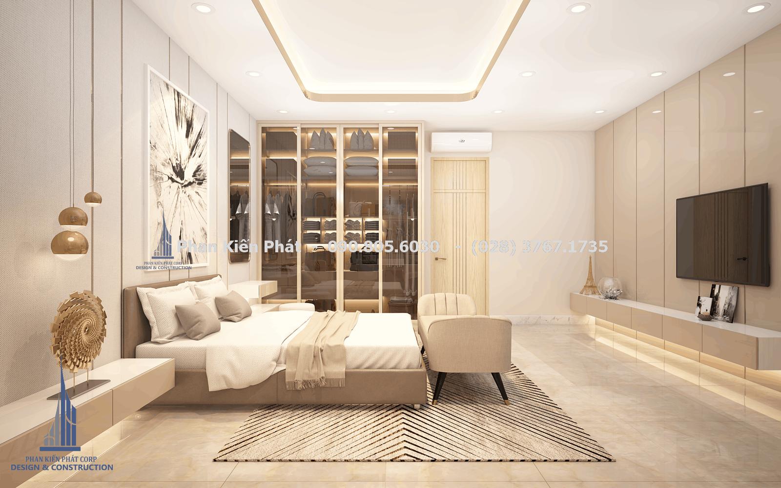 Phòng ngủ master trong mẫu biệt thự phố 5 tầng