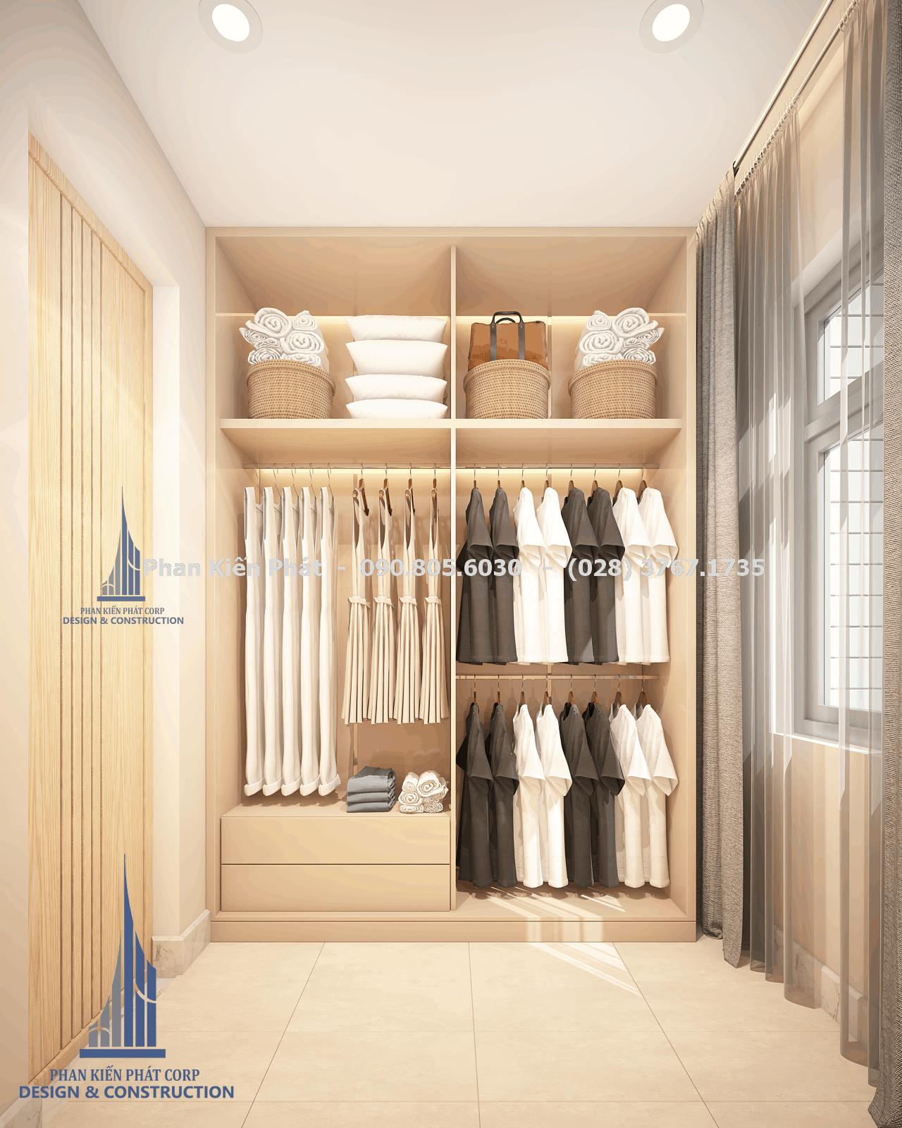 Phòng quần áo master biệt thự hiện đại