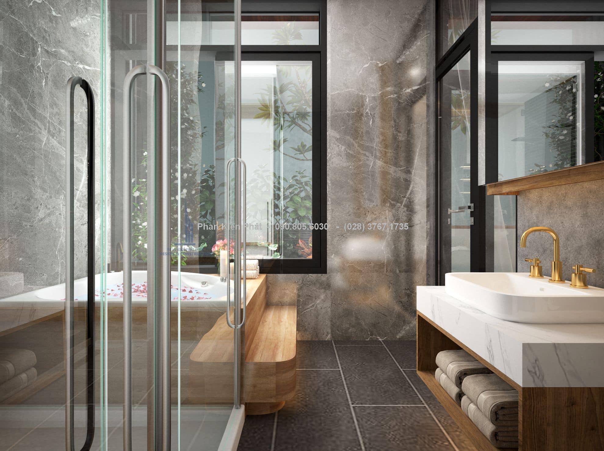 Phòng ngủ master kết hợp với phòng xông hơi